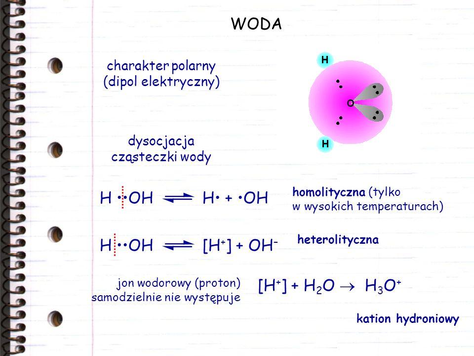 WODA H ••OH H• + •OH H ••OH [H+] + OH– [H+] + H2O  H3O+